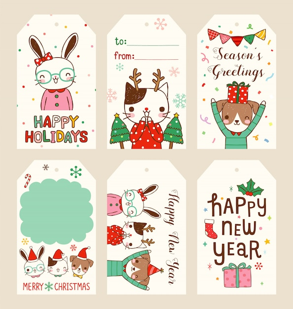 Set Of New Year Gift Tags Vector Template Hand Drawn: Set Of Merry Christmas And Happy New Year Gift Tags In