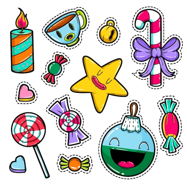 Set of merry christmas and happy new year stickers. festive. Premium Vector