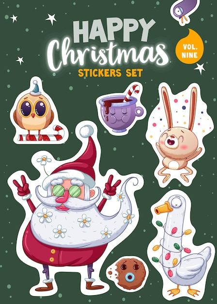 Set of merry christmas and happy new year stickers or magnets. festive souvenirs. vector illustration Premium Vector