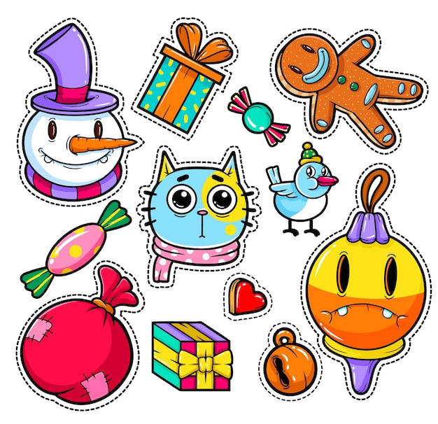 Set of merry christmas and happy new year stickers Premium Vector