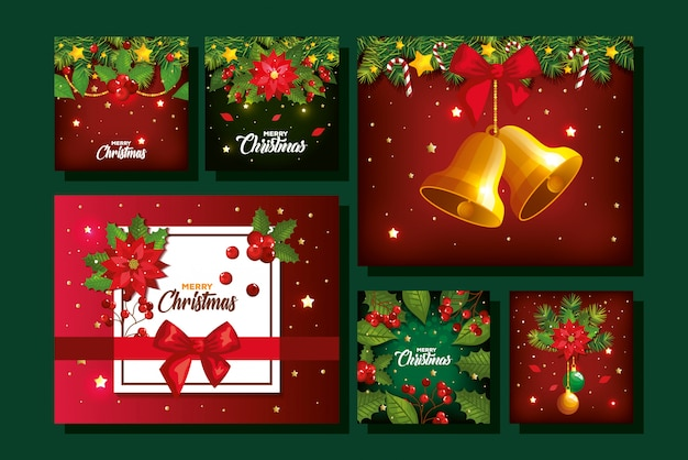Set of merry christmas poster with decoration Free Vector