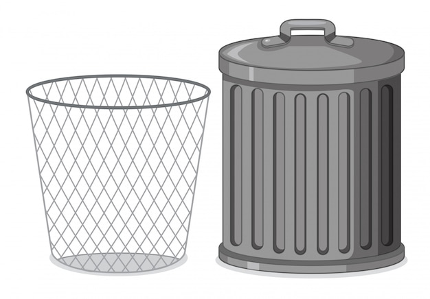 Set of metal plastic container Free Vector