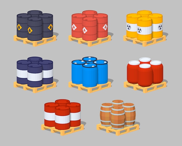 Set of the metal, plastic and wooden 3d lowpoly isometric barrels on the pallets Premium Vector