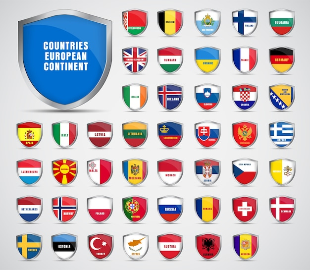 Set of metal sheets with the flags of the countries of the european continent. Premium Vector