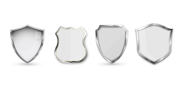 Set of metal shield isolated on white . Premium Vector