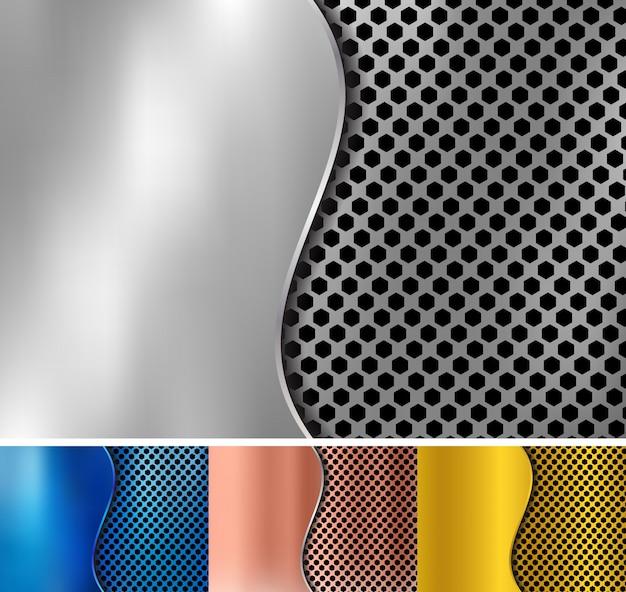 Set of metallic background Premium Vector