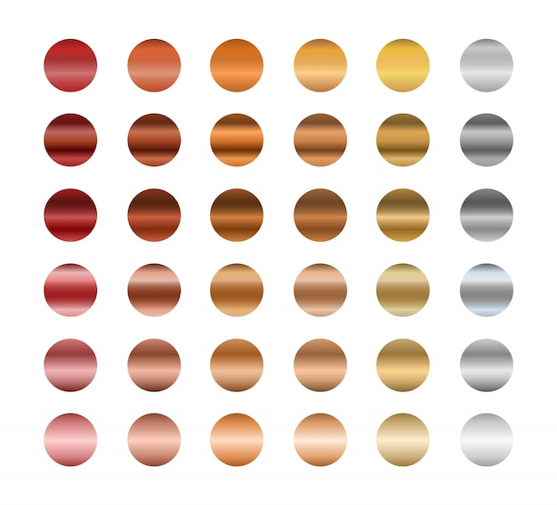 Set of metallic gradients, gold, silver and bronze. collection of gradient colors. Premium Vector