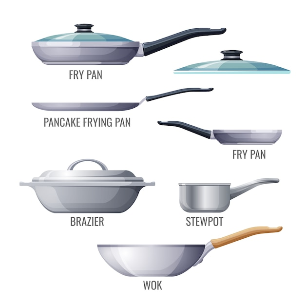 Set of metallic pans and kitchen utensils Premium Vector