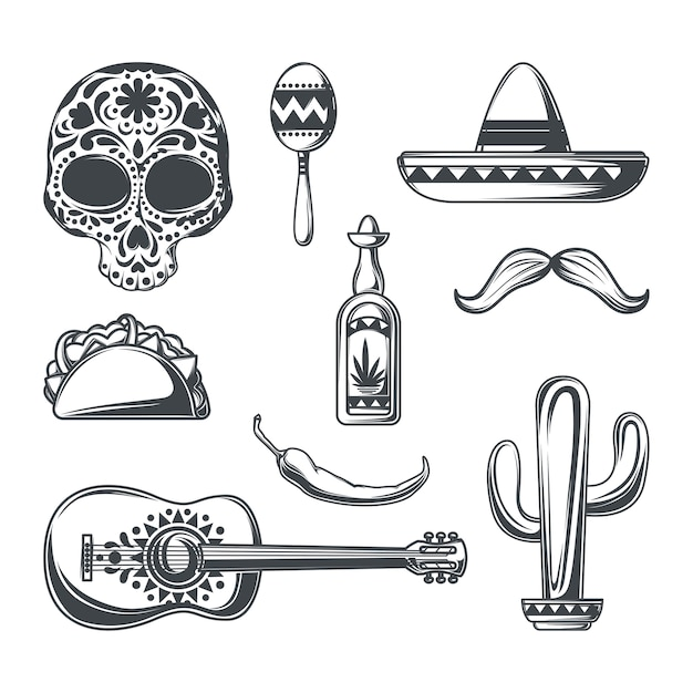 Set of mexican elements Free Vector