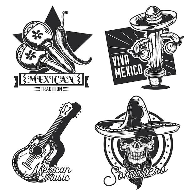Set of mexican emblems, labels, badges, logos Free Vector
