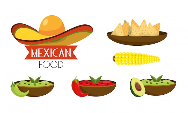 Set mexican food with spicy sauces Premium Vector