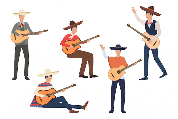 Set of mexican guitarists Free Vector