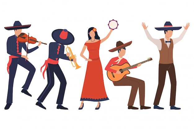 Set of mexican musicians. men in sombreros playing instruments Free Vector