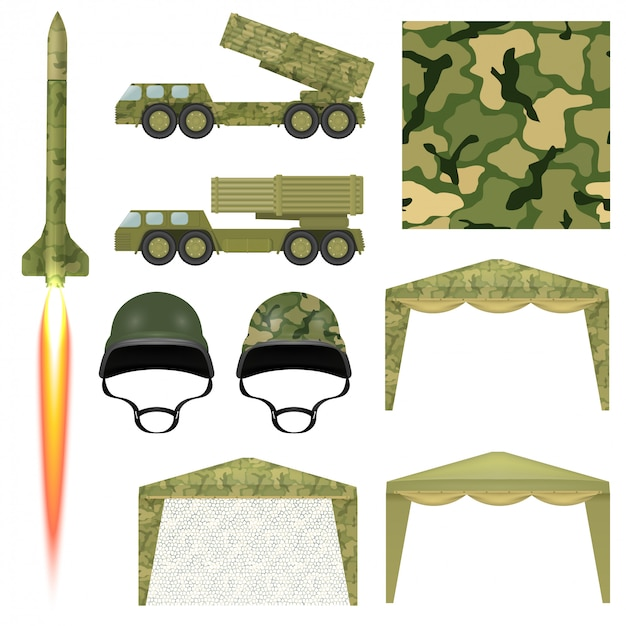 Set of military equipment. military missile, helmet, awning, protective cloth, rocket launcher. Premium Vector