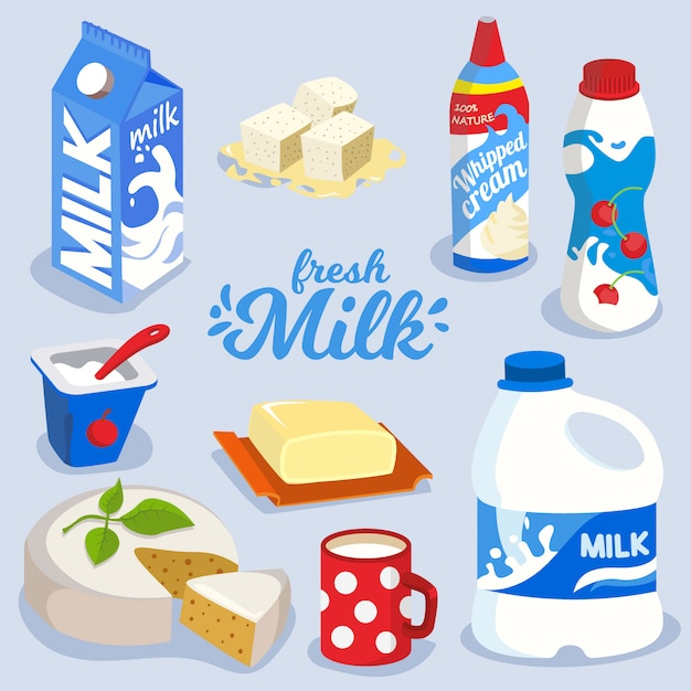 Set of milk products, dairy produce in colorful package icon Premium Vector