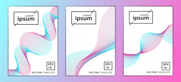 Set of minimal business brochure cover design Premium Vector