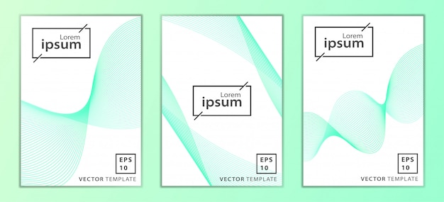 Set of minimal business cover template design Premium Vector