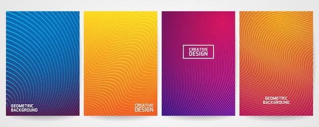 Set of minimal cover design with modern geometric pattern Premium Vector