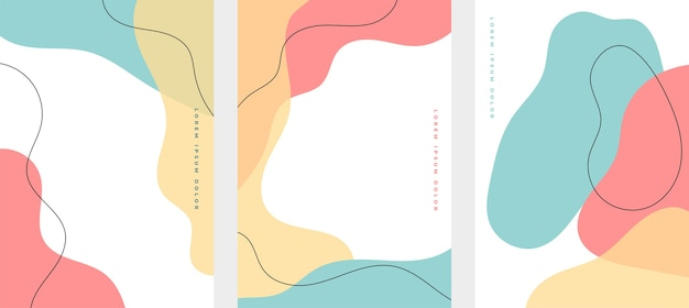 Set of minimalist hand drawn fluid shapes background Free Vector
