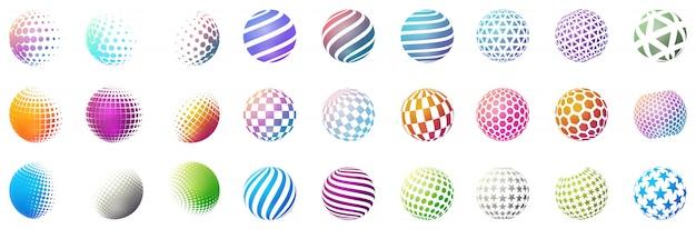 Set of minimalistic shapes. halftone color spheres Premium Vector
