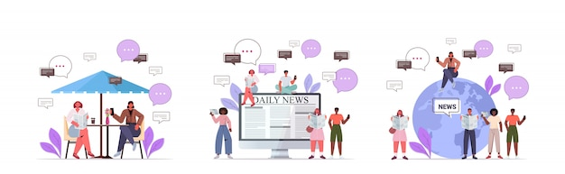 Set mix race people reading newspapers discussing daily news chat bubble communication concept Premium Vector