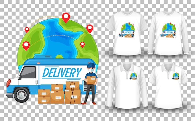 Set of mockup shirt with delivery theme Free Vector