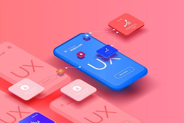 A set of mockups for smartphones with a user interface for a mobile application