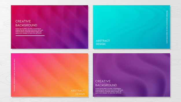 Set of modern abstract geometric background templates Premium Vector