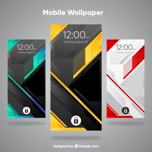 Set Of Modern And Abstract Mobile Wallpapers Vector