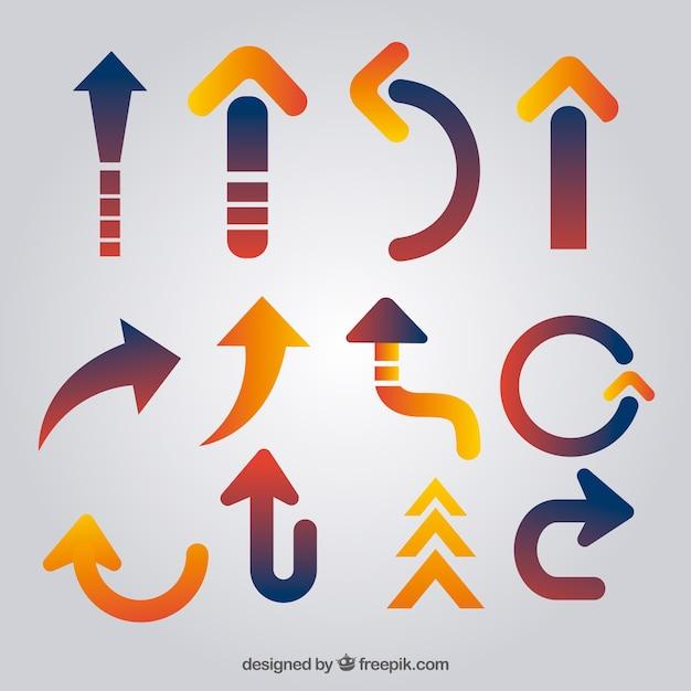 Set of modern arrows Free Vector