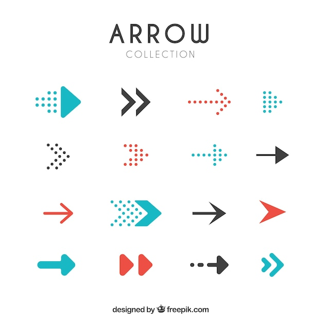 Set of modern arrows Free Vector