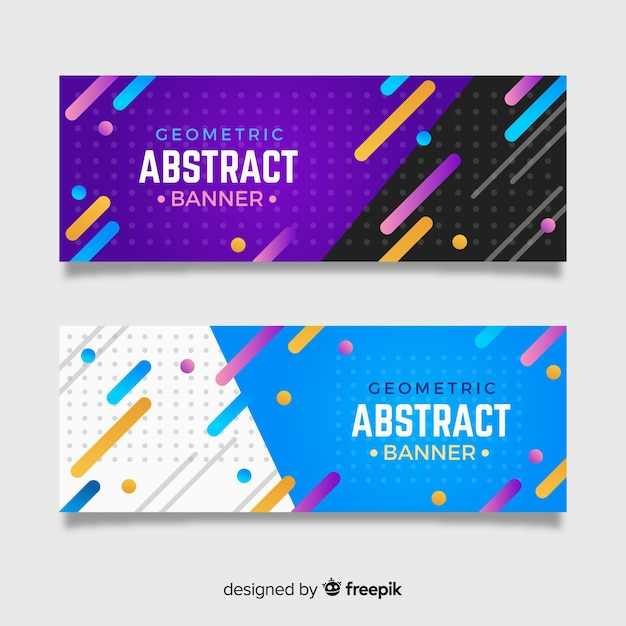 Set Of Modern Banners With Abstract Design Vector Free
