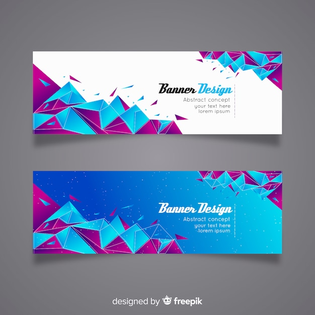 Set of modern banners with abstract design Free Vector