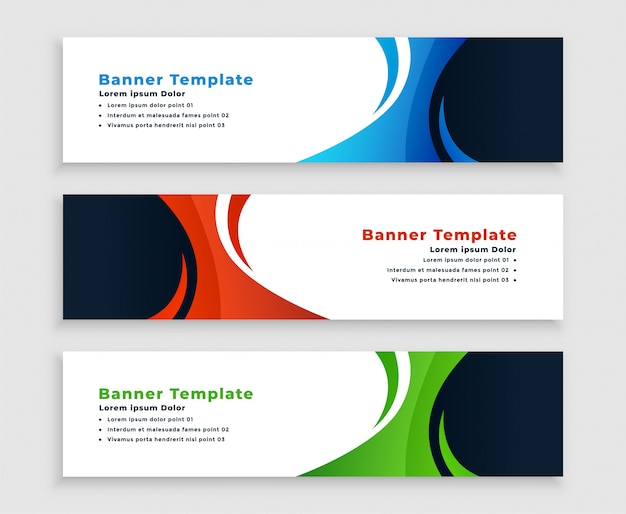 Set of modern business banners with curvy shape Free Vector