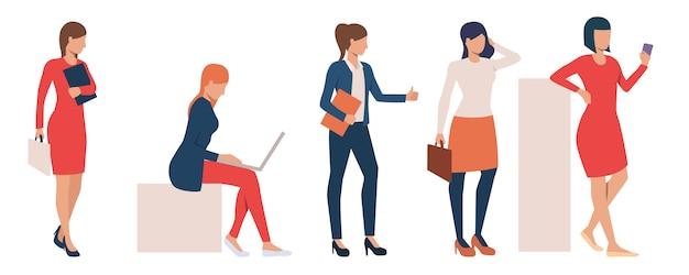 Set of modern business ladies performing tasks Free Vector
