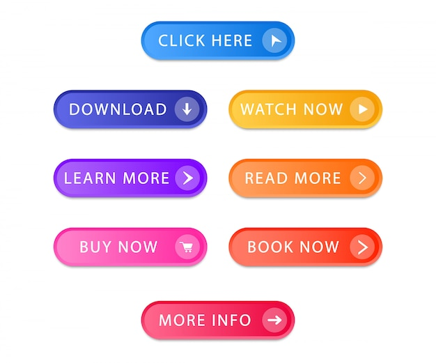 Set of modern buttons for web site and ui. collection gradient buttons. Premium Vector
