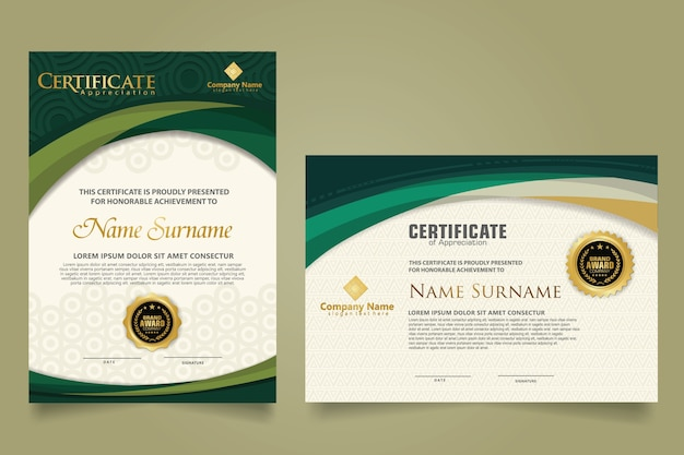 Set modern certificate template with futuristic and elegant color wave shape on the ornament and modern pattern background. size a4. Premium Vector