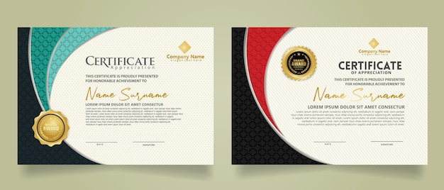 飾りとモダンなパターンの背景に形をしたリアルなテクスチャダイヤモンドでモダンな証明書テンプレートを設定します。サイズa4。 Premiumベクター