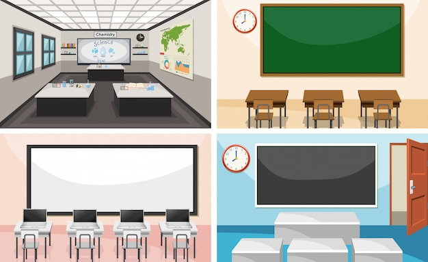 Set of modern classroom Free Vector