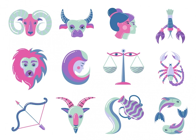 Set of modern color zodiac signs, for web design Premium Vector