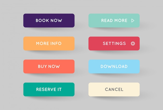 Set of modern flat app or game buttons Premium Vector