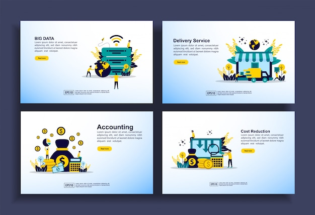 Set of modern flat design templates for business, big data, delivery service, accounting, cost reduction Premium Vector