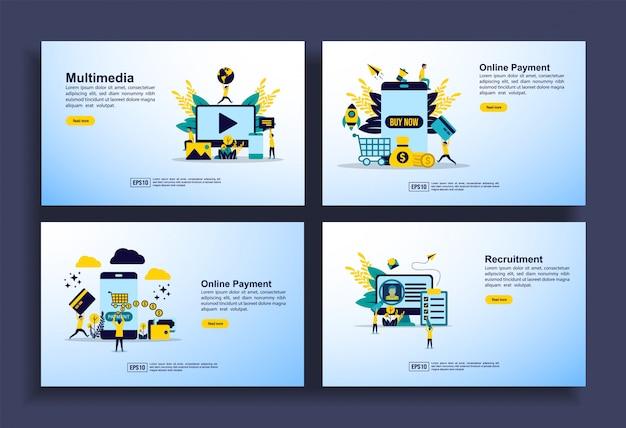 Set of modern flat design templates for business, multimedia, online payment, recruitment. Premium Vector