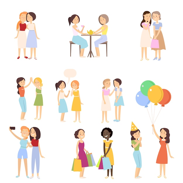 Set of modern girlfriends in different daily normal situations Premium Vector