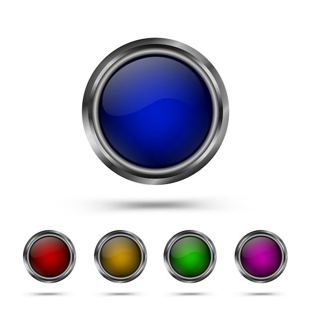 Set of modern glass round shape buttons Premium Vector