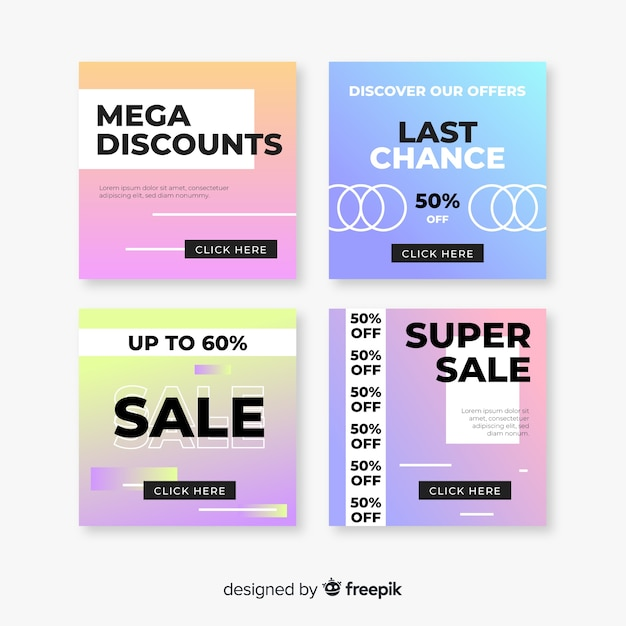 Set of modern gradient sale banners for social media Free Vector