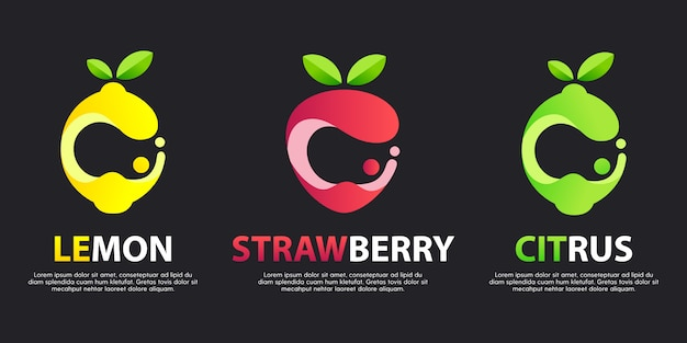 Set Of Modern Great Logos With Decorative Fruits Premium Vector