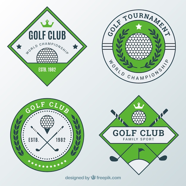 Set of modern green golf labels Free Vector
