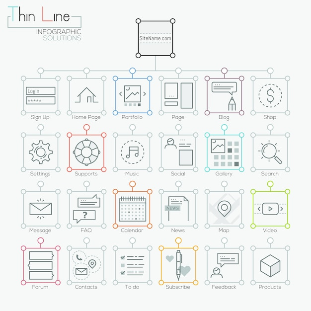 Set of modern icons in thin line style Premium Vector