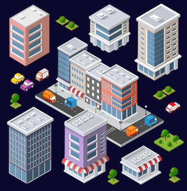 Set of modern isometric buildings Premium Vector